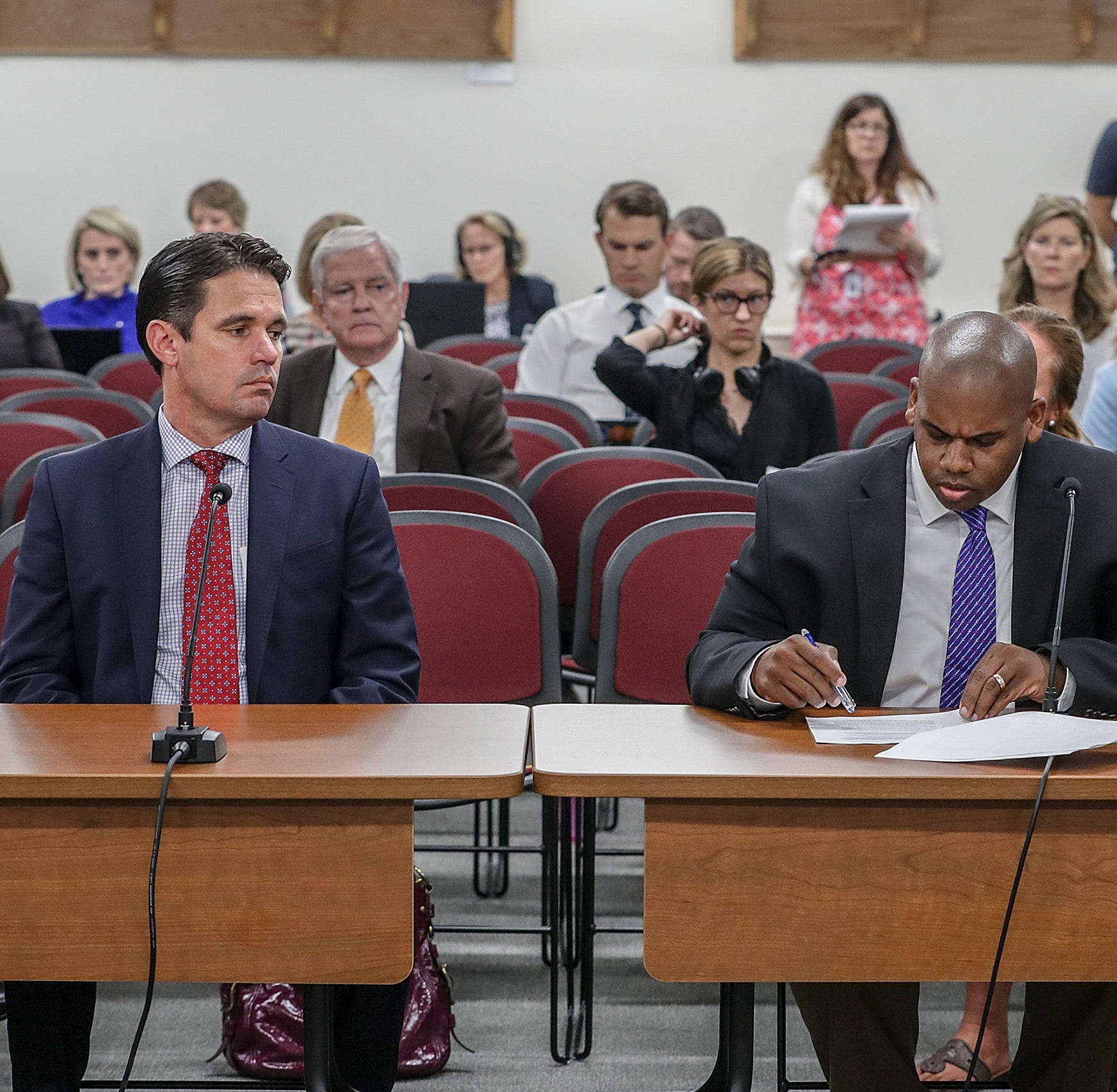 JCPS Superintendent Marty Pollio appears before the Kentucky Board of Education with interim Education Commissioner Wayne Lewis to dismiss the appeals hearing that would determine whether the state takes over JCPS.August 29, 2018