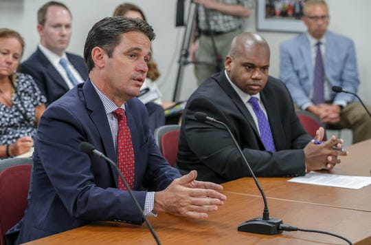 JCPS Superintendent Marty Pollio appears before the Kentucky Board of Education with interim Education Commissioner Wayne Lewis to dismiss the appeals hearing that would determine whether the state takes over JCPS.