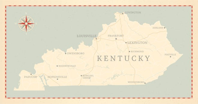 A vintage-style map of Kentucky.