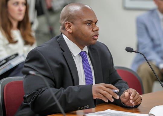 Interim Education Commissioner Wayne Lewis speaks to the Kentucky Board of Education to dismiss the appeals hearing that would determine whether the state takes over JCPS.August 29, 2018