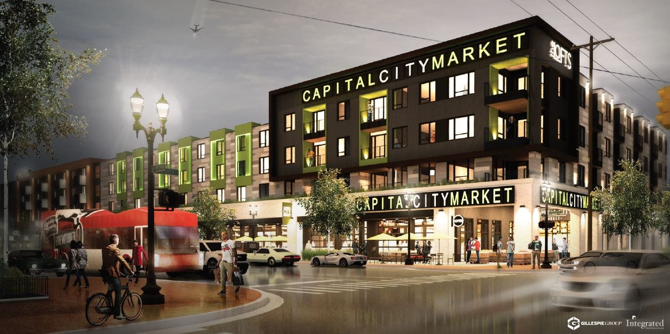 Gillespie Group announced last year plans for a four-story mixed-used development on East Michigan Avenue. It will include a market and Courtyard by Marriott hotel.