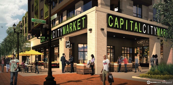 A Meijer-owned urban market, expected to open on the 600 block of East Michigan Avenue in fall 2020, is shown here in a rendering.