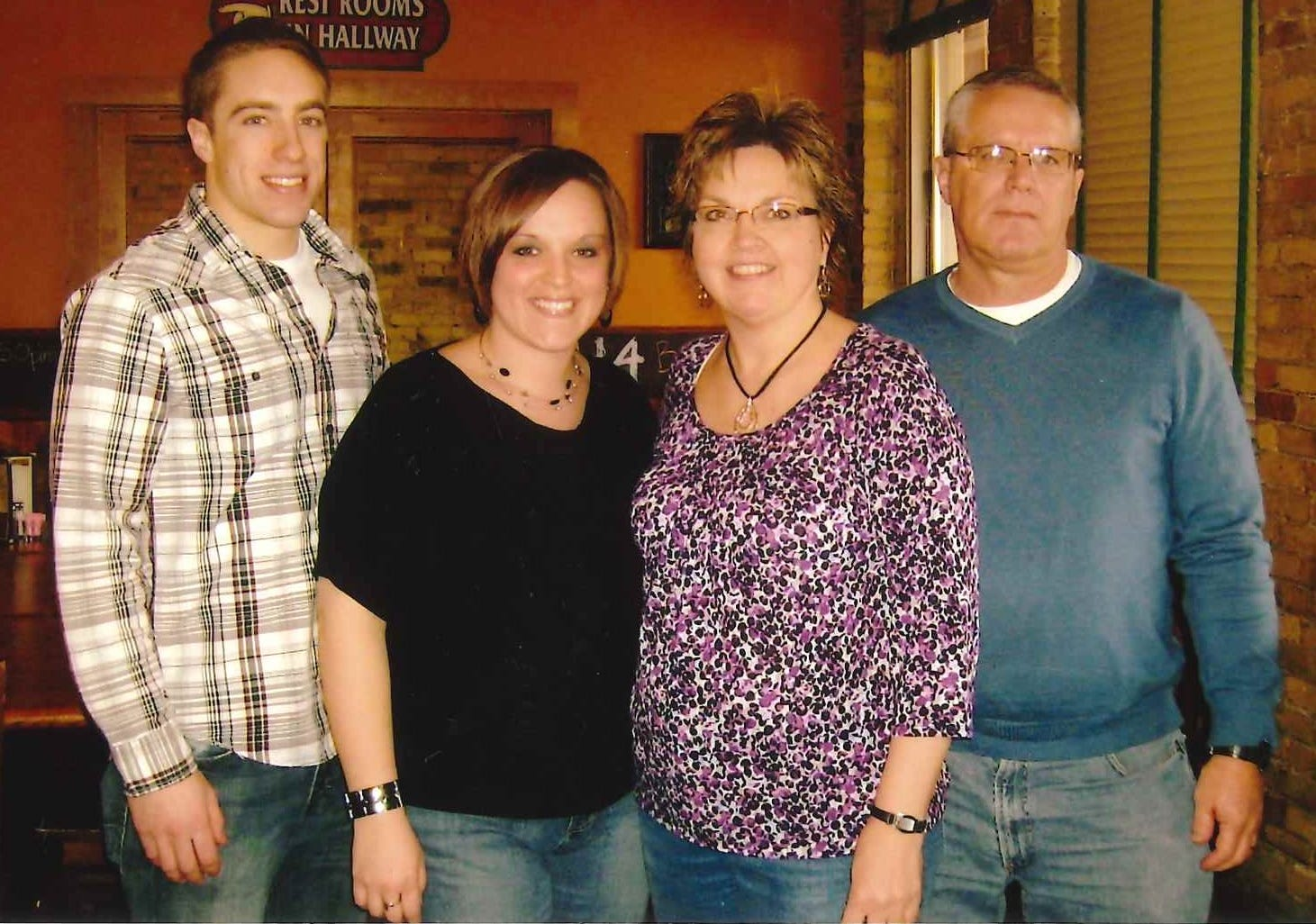 The Jagemann family – Tony (from left), Erin, Nan and Paul – celebrating Paul's birthday at Water Street Brewery in Grafton.