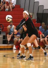 Crestview's Natalie Restille hits the ball on Tuesday night.