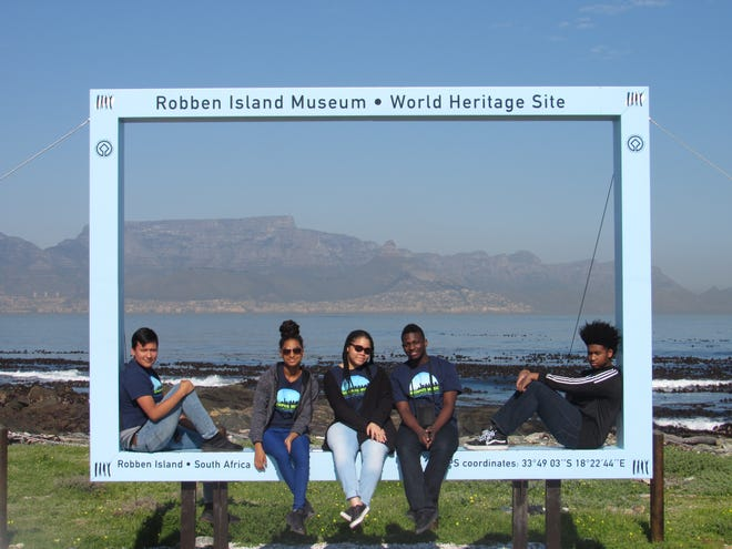 From left, Jose Ayala, Alicia Taylor, Allyson Smith, ZaVon Glass and Tavian Williams at Robben Island in South Africa.