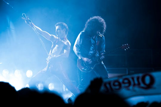 "Rami Malek (Freddie Mercury) and Gwilym Lee (Brian May) star in ""Bohemian Rhapsody."""