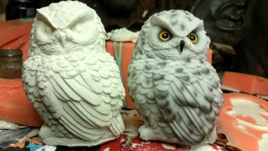 Among sculptor Brian Vallery's  critters and creatures are these owls. His Stone Troll Studio creations will be on exhibit at Inspiration Studios, West Allis, during September. An opening reception will be 7 to 9 p.m. Saturday, Sept. 8.