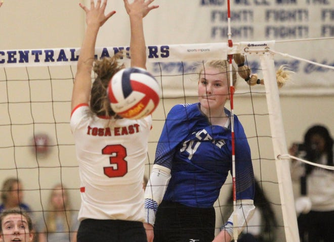 Brookfield Central freshman McKenna Wucherer records one of her game-high 31 kills against Wauwatosa East on August 28.