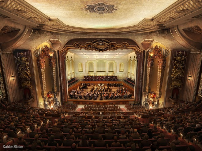 A recent artist's rendering of what a future Milwaukee Symphony concert in the Warner Grand Theatre could look like.