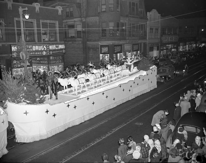 The Schuster's Christmas parade, which ran for more than 30 years, travels down W. Vliet St. on Nov. 18, 1950. That's Santa atop the ship-shaped float, behind all the reindeer.