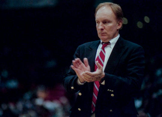 Trinity Coach Jack Schweers coaches his team to the 3A State Basketball Championship in Birmingham on Saturday February 27, 1999.