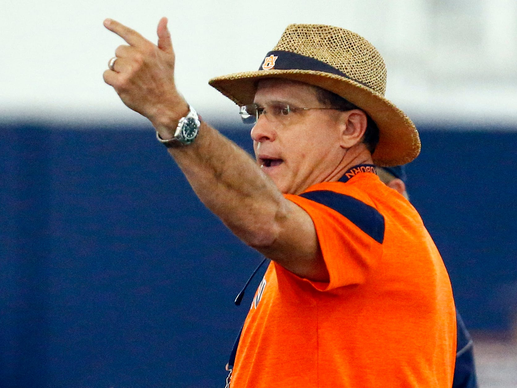 Auburn head coach Gus Malzahn reacts during NCAA college foottball practice, Friday, Aug. 3, 2018, in Auburn, Ala. (AP Photo/Butch Dill)
