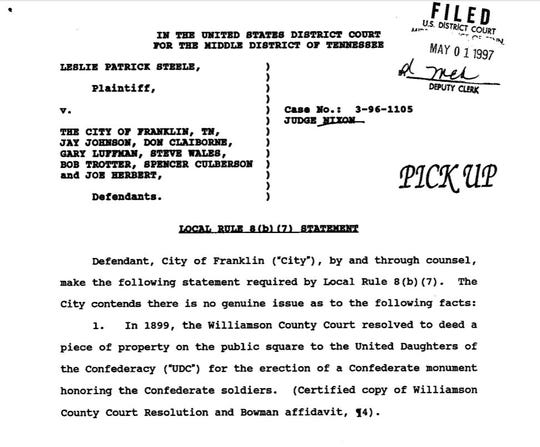 Page 1 of a ruling from the Middle Tennessee District Court in 1997, when Judge Trice Nixon made a decision about the Confederate monument land.