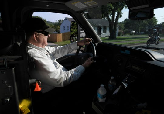 Franklin Transit Authority bus driver Chuck Knight  drive his route on Tuesday, August 28, 2018.