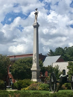 The Confederate statue in downtown Franklin on Aug. 29, 2018.
