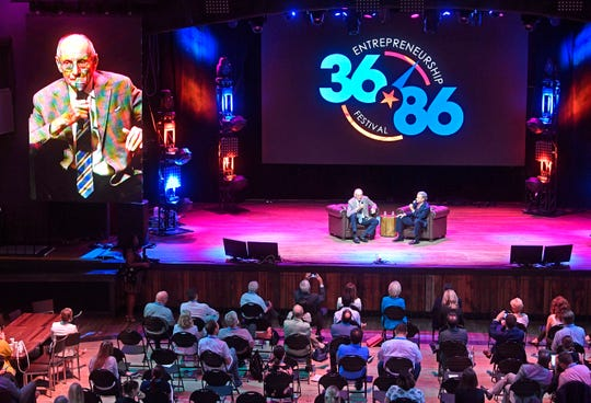 Bill Haslam interviews his father Jimmy Haslam II at the 36|86 Entrepreneurship Festival on Wednesday, Aug. 29, 2018, in Nashville, Tenn.