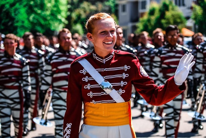 Former Franklin High School drum major Claire Albrecht, who is now with The Cadets in Allentown, Penn.