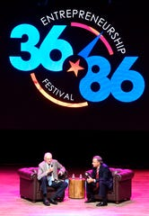 Bill Haslam interviews his father Jimmy Haslam II at the 36|86 entrepreneurship festival