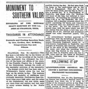 A snippet of the Dec. 1, 1899 article from The Nashville American, which covered the monument dedication on Nov. 30, 1899.