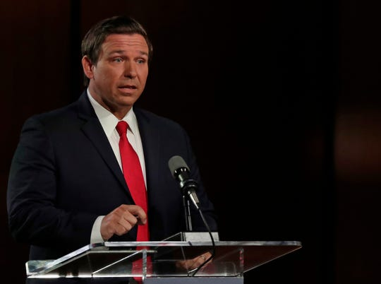 Gubernatorial candidate Ron DeSantis speaks during a debate Wednesday, Aug. 8, 2018, in Jacksonville.