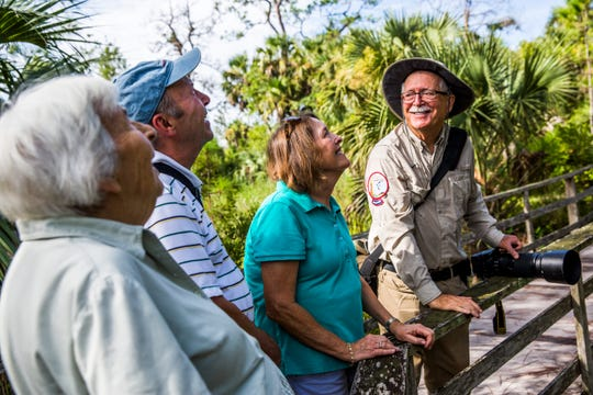 From left, Margarit Leutort, 91, of Naples and her son Werner and his wife Chris take a tour led by volunteer Jerry Jackson at the Audubon Corkscrew Swamp Sanctuary on Wednesday, Aug. 29, 2018.