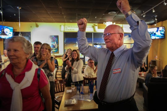 Collier County School Board incumbent Roy Terry celebrates his win Tuesday, Aug. 28, 2018, at South Street Grill. Terry reclaimed his District 5 seat for a third term.