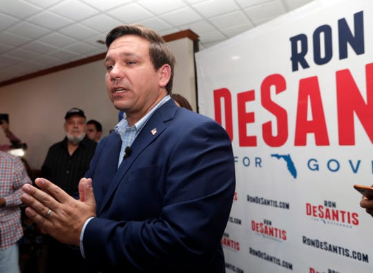 Republican gubernatorial candidate Ron DeSantis speaks during a campaign event at Versailles restaurant Monday, Aug. 27, 2018, in Miami.