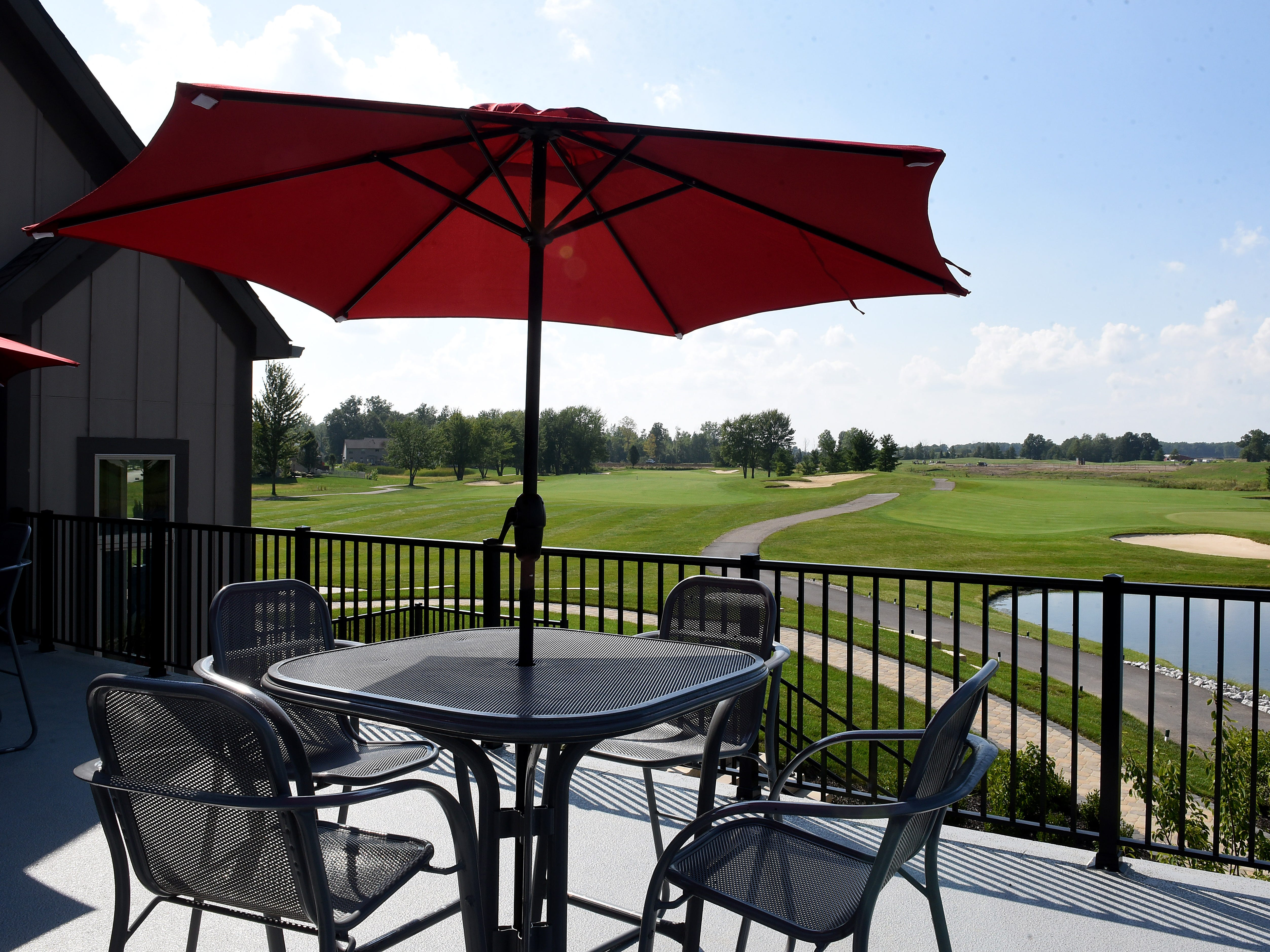Patio overlooking the links at The Loft at Cumberland. The Pataskala restaurant is part of Cumberland Trail Golf Club.