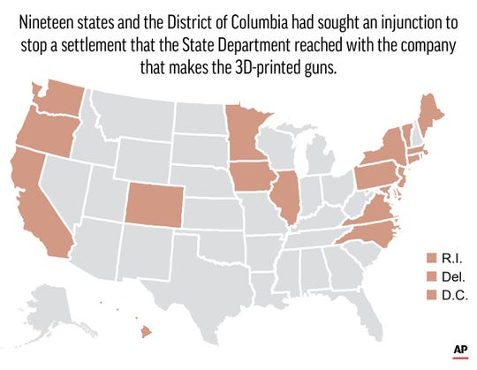 Nineteen states and the District of Columbia had sought an injunction to stop a settlement that the State Department reached with the company that makes the 3D-printed guns.; 2c x 3 inches; 96.3 mm x 76 mm;