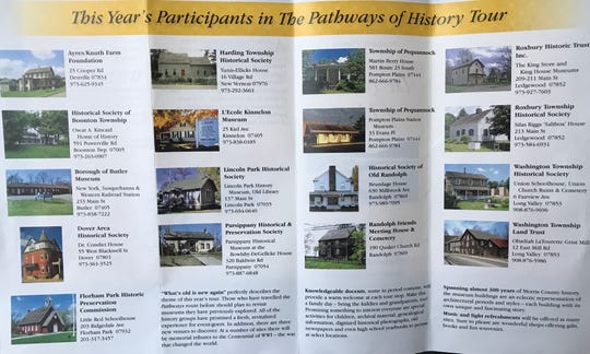 A flyer listing the museums and historical sites in Morris County participating in the Pathways of History Tour on Sept. 22 and 23.