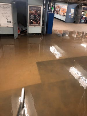 The Hoboken PATH Station flooded due to a water main break in Hoboken on Wednesday August 29, 2018. Traffic has been detoured around the PATH Station while emergency repairs are underway.