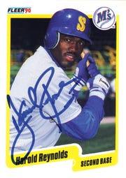A baseball card of Seattle Mariner Harold Reynolds signed by Montclair resident Harold Reynolds