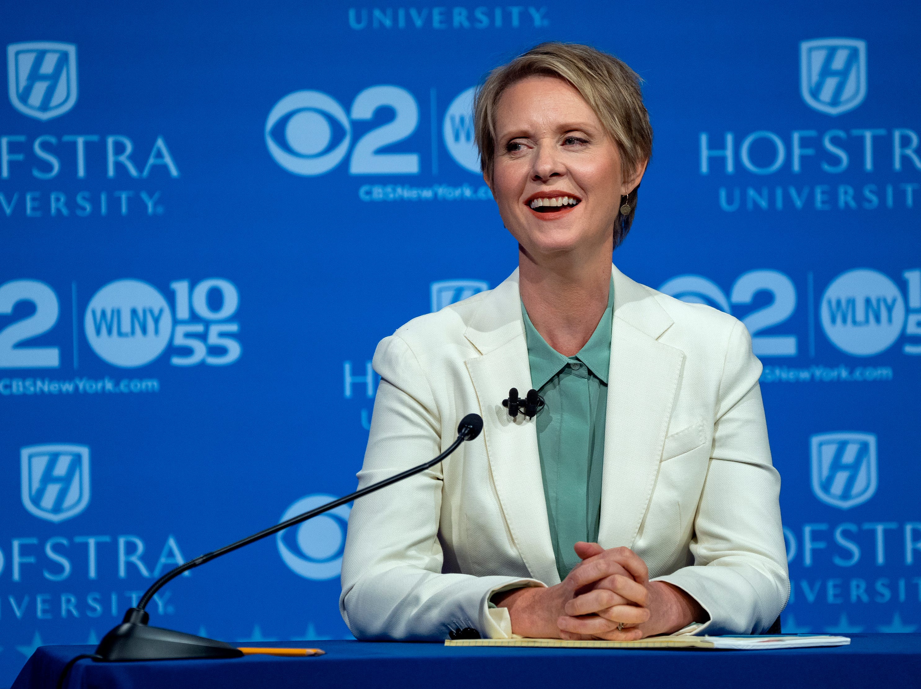 Democratic New York gubernatorial candidate Cynthia Nixon reacts during a gubernatorial debate with New York Gov. Andrew Cuomo at Hofstra University in Hempstead, N.Y., Wednesday, Aug. 29, 2018. (AP Photo/Craig Ruttle, Pool)