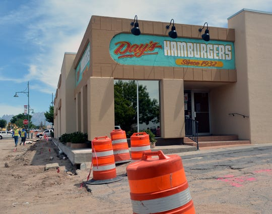 Las Cruces Avenue is being reconstructed on Wednesday, Aug, 29, 2018, making it difficult for customers to access Day's Hamburgers. The Las Cruces Avenue construction project is expected to continue for about another month.