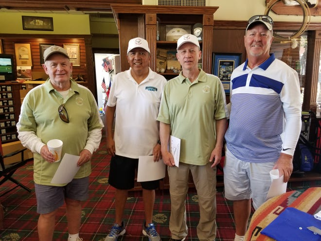 The El Paso/Las Cruces Old Timers Golf Group's monthly golf tournament first place winners from left: Ted Novack, Picacho Hills Country Club; Jerry Ybarra, Lone Star Golf Club; Dave Epperson, Painted Dunes Desert Golf Course; Kirk McDaniel, New Mexico State University Golf Course.