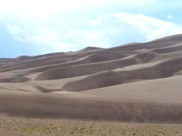Panoramic view of Great Sand Dunes National Park.