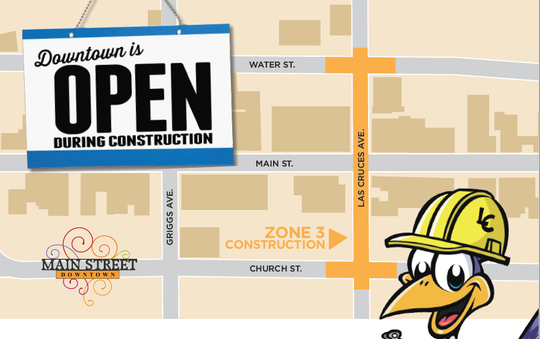 An city informational flier shows Zone 3, or Phase 3, of a downtown Las Cruces reconstruction project.