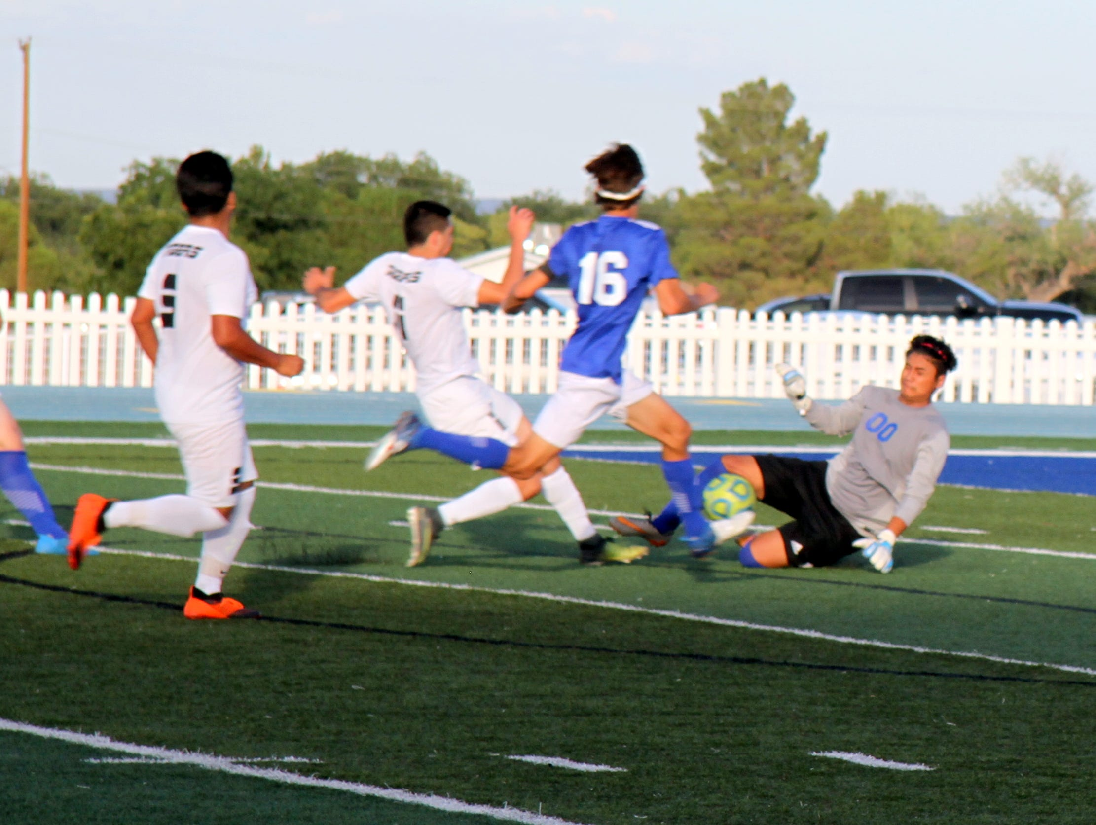 Carlsbad keeper Eduardo Aguilar stops an Alamogordo shot in the second half of Tuesday's match.