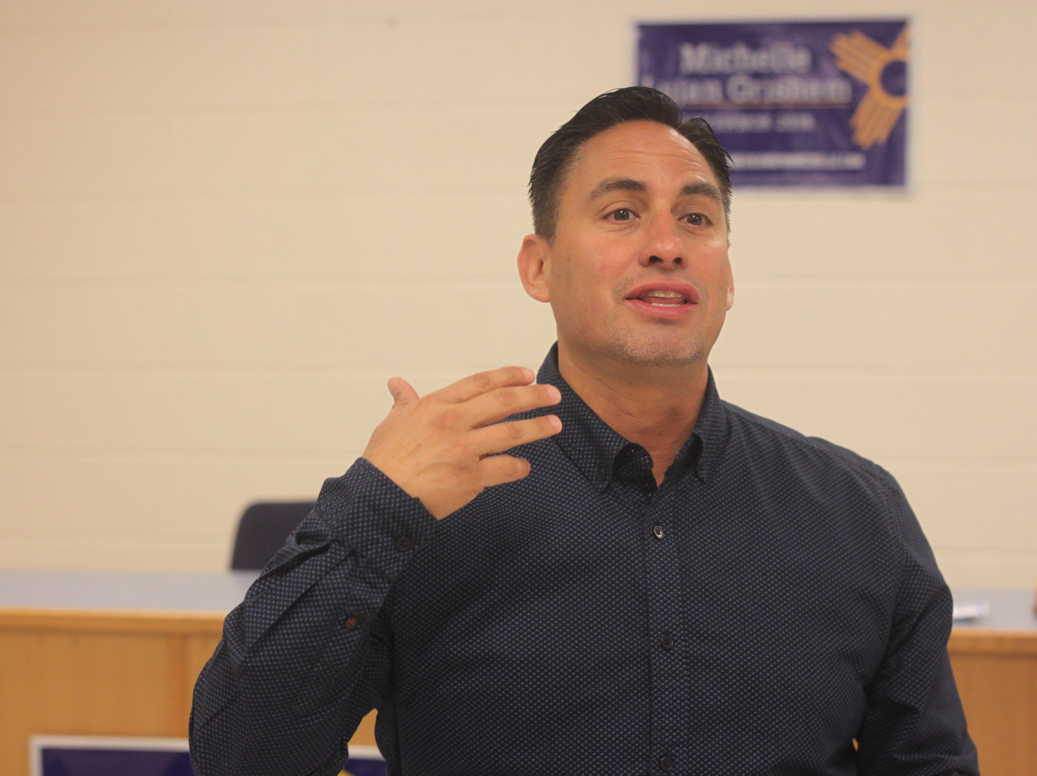 Candidate for New Mexico lieutenant governor Howie Morales addresses voters during a campaign stop, Aug. 29, 2018 in Carlsbad.