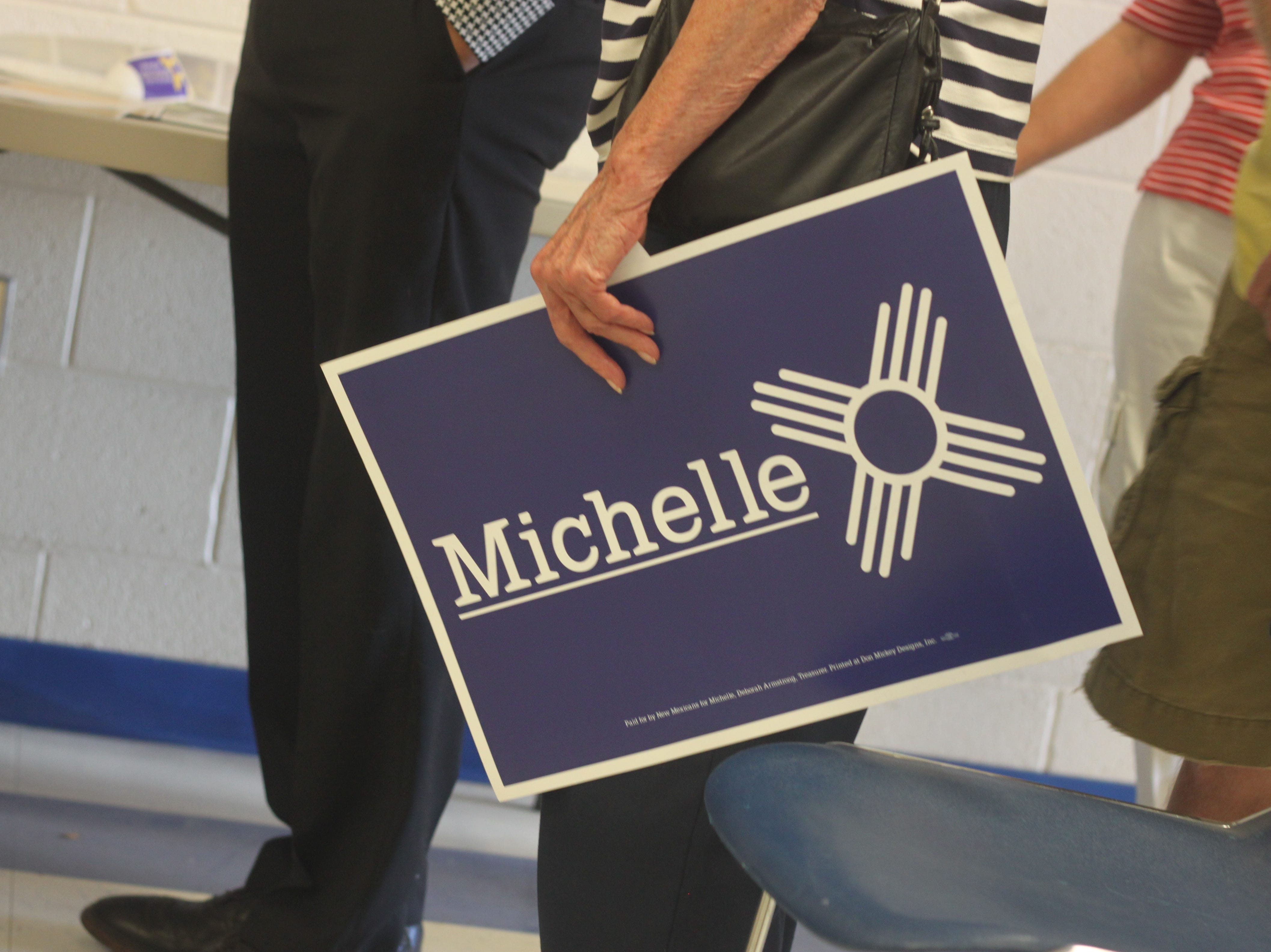 Candidate for New Mexico governor  Michelle Lujan Grisham addresses voters during a campaign stop, Aug. 29, 2018 in Carlsbad.