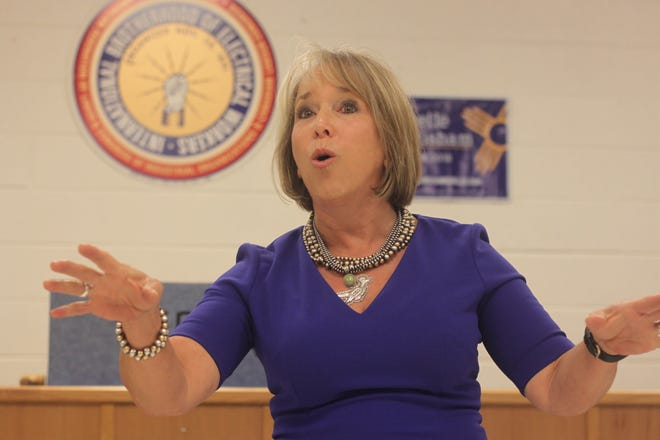Candidate for New Mexico governor  Michelle Lujan Grisham addresses voters during a campaign stop, Aug. 29, 2018, in Carlsbad.