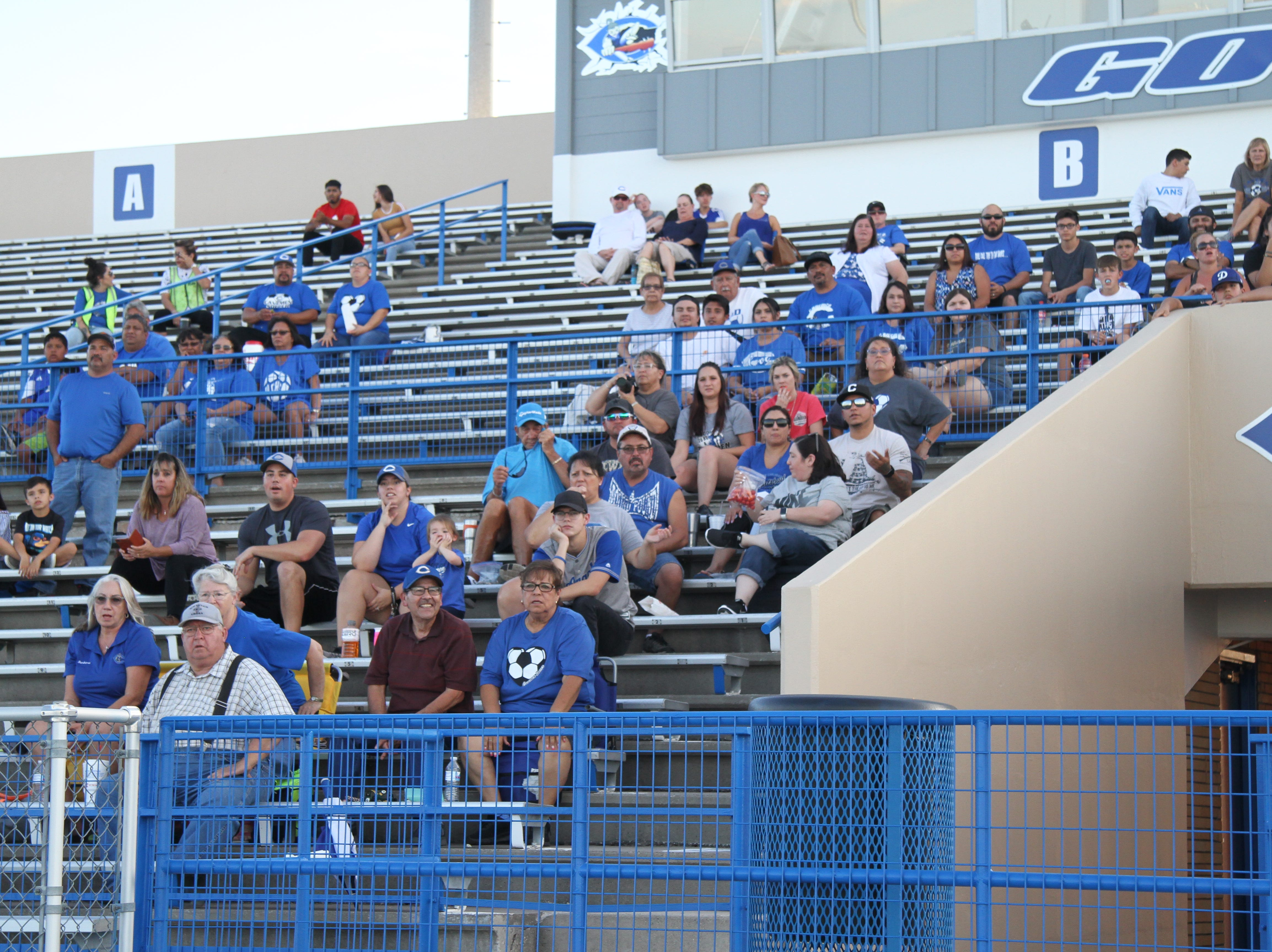 Fans watch the Tuesday match between Carlsbad and Alamogordo.