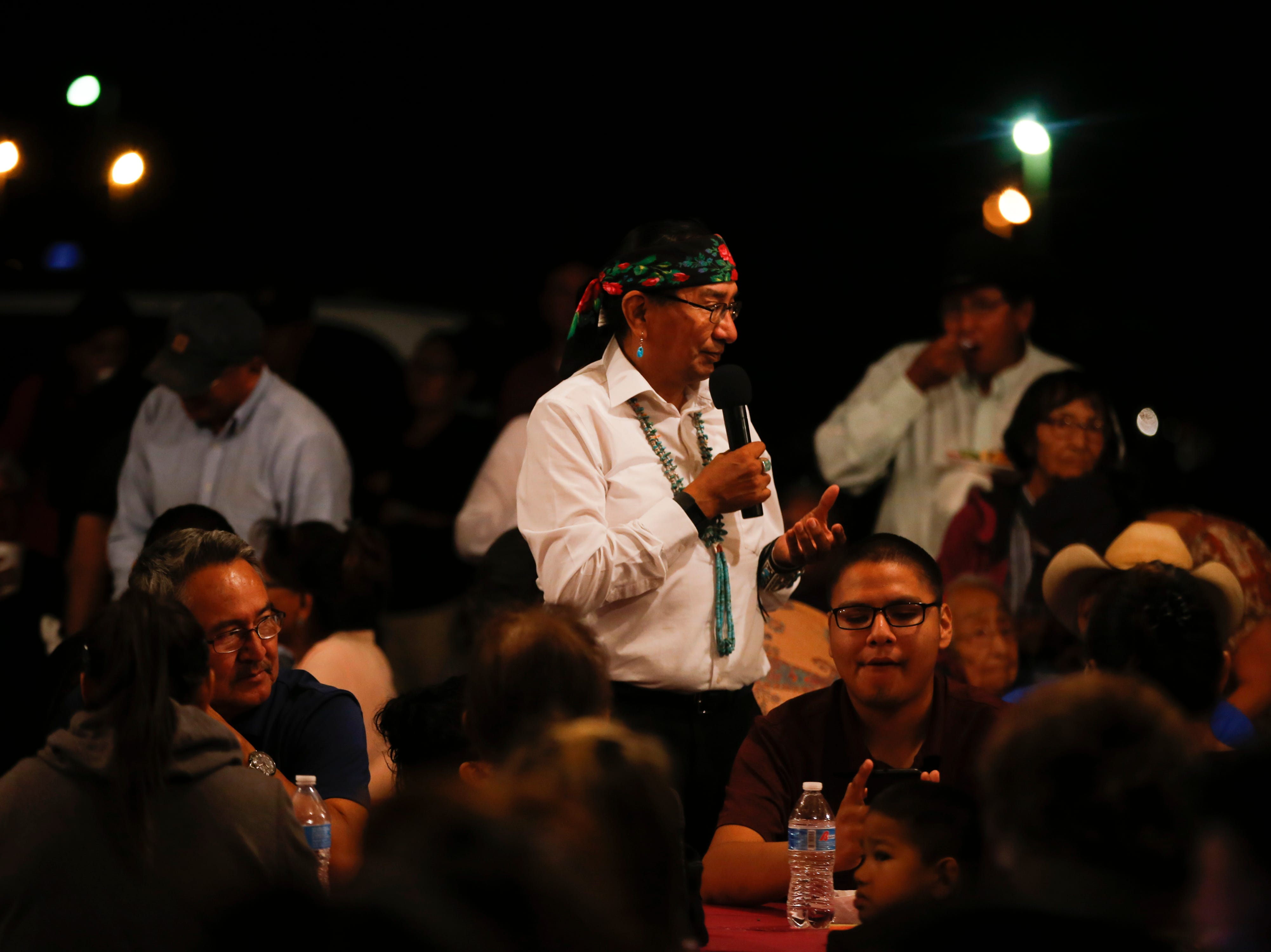Navajo Nation Presidential candidate Rex Lee Jim talks to Jonathan Nez supporters, Tuesday, Aug. 28, 2018 at Nez's campaign party the Navajo Nation Fair Grounds  in Window Rock, Arizona.