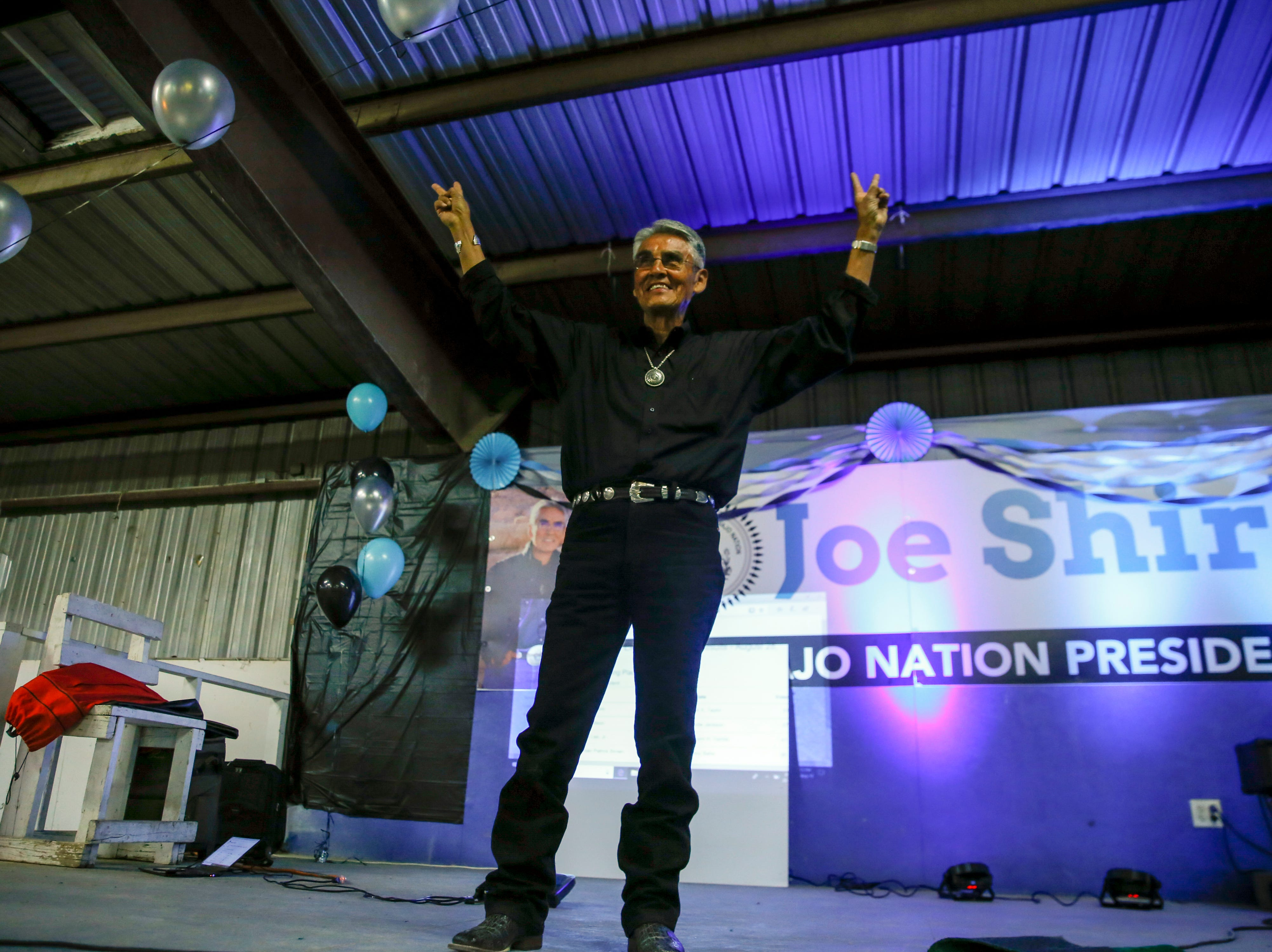 Navajo Nation Presidential candidate Joe Shirley Jr., acknowledges his supporters during his campaign party, Tuesday, Aug. 28, 2018 at Nakai Hall Navajo Nation Fairground in Window Rock, Ariz.