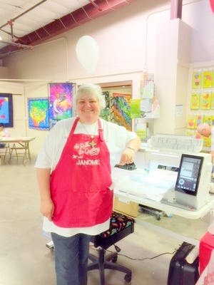 Jackie Hunter all ready to go for the Janome three-day event at A Quilting Stitchuation in Ruidoso.