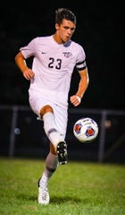 Plymouth's Alex Bowser displays fancy footwork.