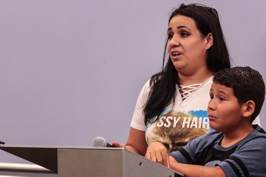 Lizette Casanova pleads with the Palm Springs Unified School Board to take action against bullies who bullied her son Aiden Vasquez, 10, on Tuesday, August 28, 2018 during a school board meeting in Palm Springs.