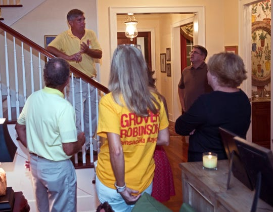 Pensacola Mayorial candidate, Grover Robinson, addresses a group of his supporters to announce the results of the election during a victory party at Robinson home on Tuesday, Aug. 28, 2018.