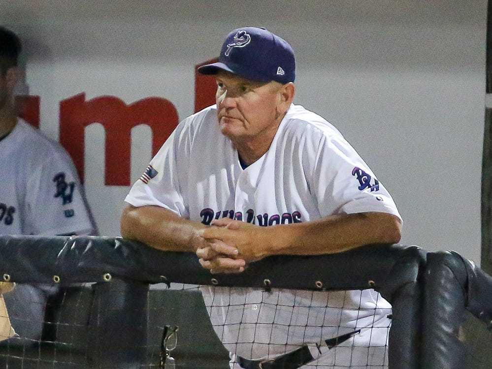 Pensacola manager Jody Davis looks on during the Blue Wahoos' last home game of the regular season on Tuesday, August 28, 2018.