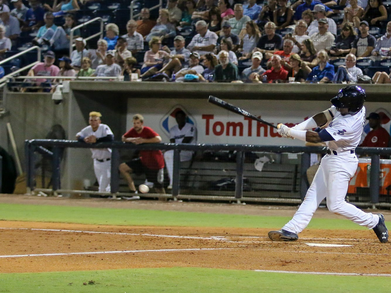Pensacola's Shed Long (4) hits a pitch thrown by Mobile's Patrick Sandoval during the Blue Wahoos' last home game of the regular season on Tuesday, August 28, 2018.